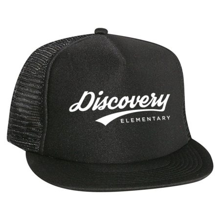 Throwback Trucker Hat - Flat Bill - Black